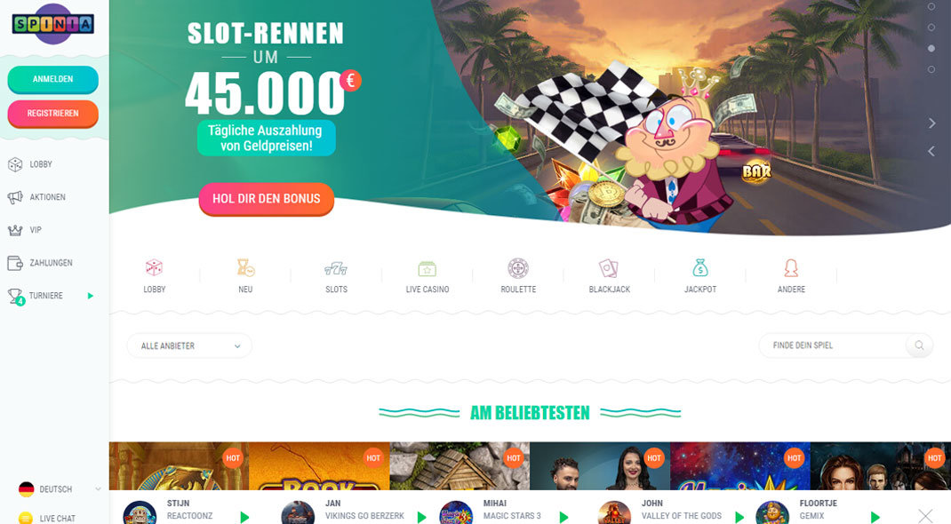Spinia Online Casino test
