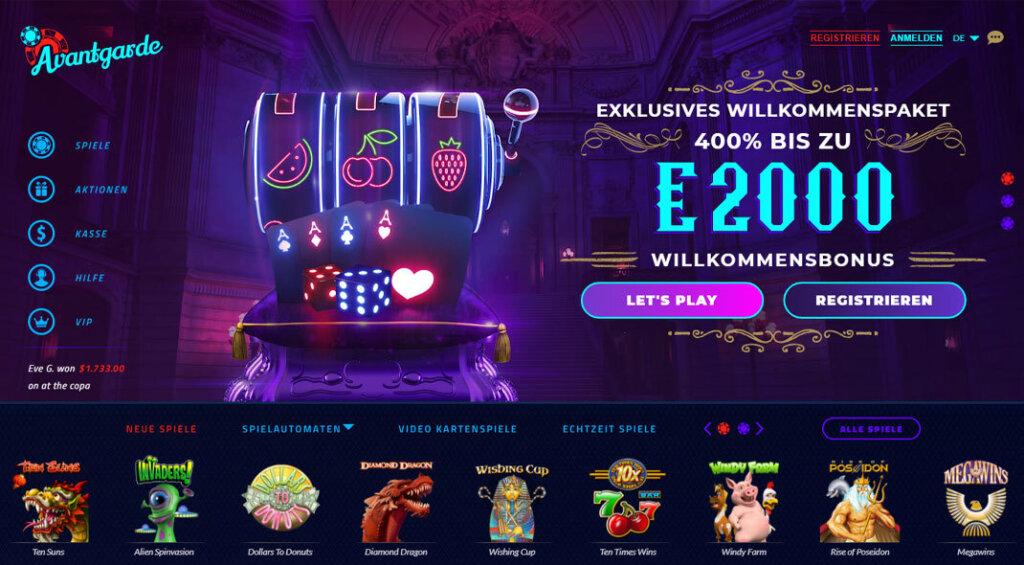 Avantgarde Casino Bonus Angebot
